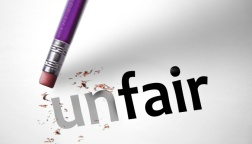 Eraser changing the word unfair for fair